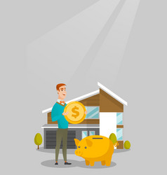 Man saving money in piggy bank for buying house vector