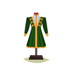 medieval european male clothing green coat with vector image