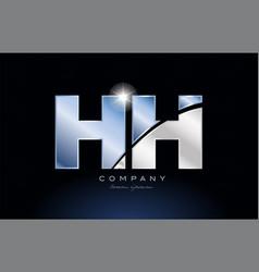 Metal blue alphabet letter hh h h logo company vector