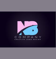 Nb alphabet letter join joined letter logo design vector