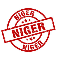 Niger red round grunge stamp vector