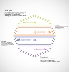 Octagon infographic from four color parts created vector