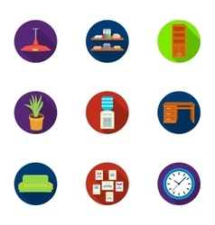 Office furniture and interior set icons in flat vector