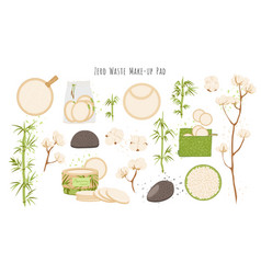 Organic zero waste reusable makeup remover pads vector