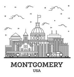 outline montgomery alabama usa city skyline with vector image