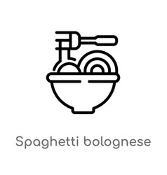 Outline spaghetti bolognese icon isolated black vector