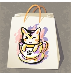 Paper bag with cat vector image