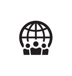 people and globe - web black icon design social vector image