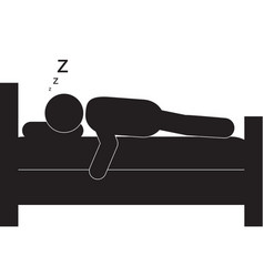 Person sleeping in bed icon vector