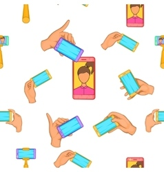 Photo on mobile phone pattern cartoon style vector image