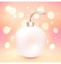 Pink Christmas ball on shining bokeh effect vector