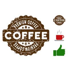 premium coffee reward stamp with scratched texture vector image