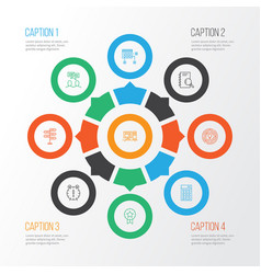 project icons set with workspace project planning vector image