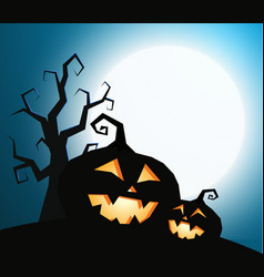 pumpkins silhouette with dry tree on dark blue sky vector image