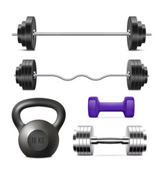 realistic gym weights set - weight ligting vector image