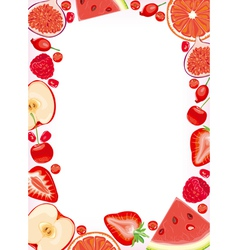 Red fruits and berries frame vector image