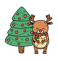 reindeer with tree balls star decoration merry vector image