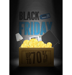 Save 70 percent black friday sale poster template vector