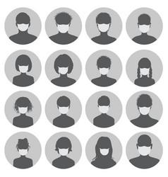 set avatars in medical masks vector image