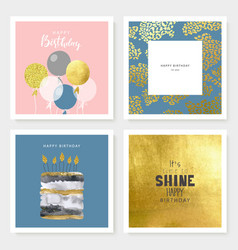 Set birthday greeting cards and party vector