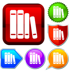 Set shiny icon series on buttons books vector
