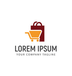 shopping bag and carriage logo design concept vector image