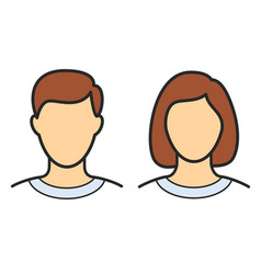 Simple human male female head outline vector