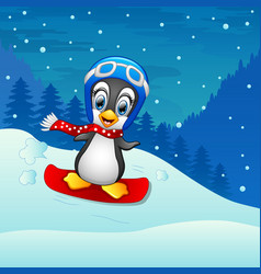 snowboarding penguin cartoon vector image