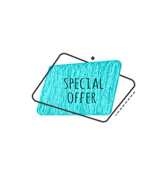 Special offer grunge badge - turquoise scratch vector