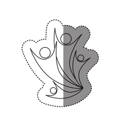 Sticker of monochrome abstract contour of family vector