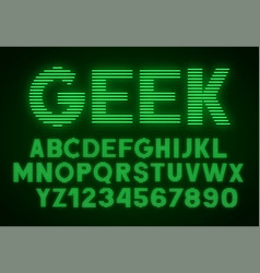 Striped glowing letters and numbers on dark vector