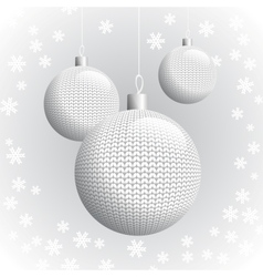 three knitted christmas balls vector image