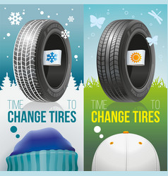 Time to change tires - winter and sumer tires vector