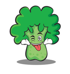 Tongue out with wink broccoli chracter cartoon vector