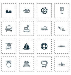 transportation icons set with parking sign sea vector image