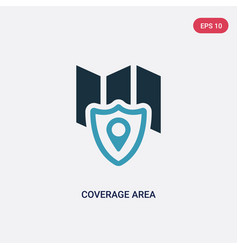 Two color coverage area icon from insurance vector