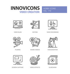 video creation - line design style icons set vector image