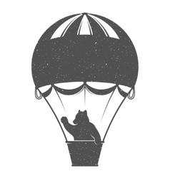 vintage bear on balloon vector image