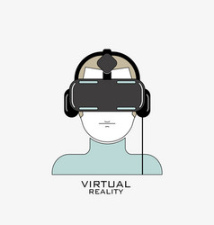 virtual reality headset icon flat line design vector image