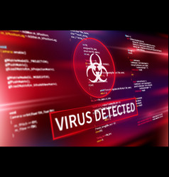 virus detected warning alert screen message vector image