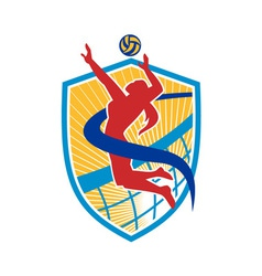 Volleyball Player Spiking Ball Shield vector