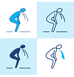 vomiting person icon set in line style vector image