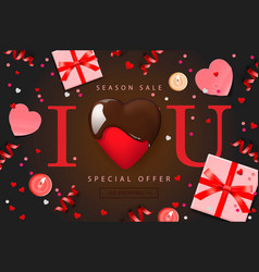 Web banner for valentines day sale top view on vector