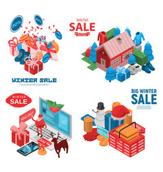 winter final sale banner set isometric style vector image