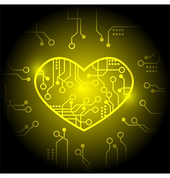 Yellow circuit heart background vector image