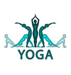 Yoga asanas im paper cut style yoga pactice vector