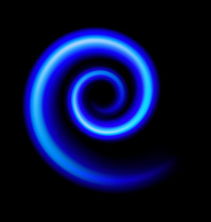 an abstract blue swirl on black vector image