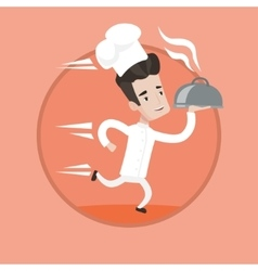 Chef running with cloche vector image