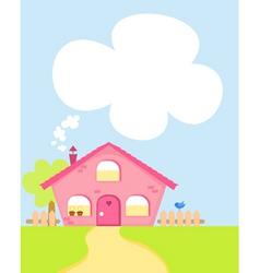 cute cartoon house with copyspace vector image vector image