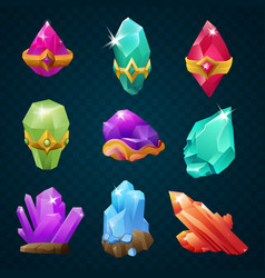 set of colorful magic energy gems gemstones with vector image vector image